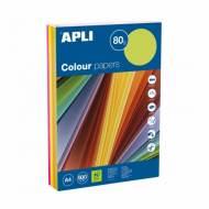 APLI 15287. Papel de 80 gr. A4 colores surtidos flúor  (500 hojas)