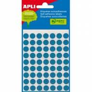 APLI 02052. Etiquetas adhesivas azules redondas (ø 10 mm.)