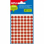 APLI 02053. Etiquetas adhesivas rojas redondas (ø 10 mm.)