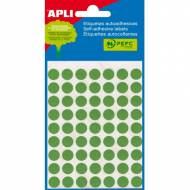 APLI 02054. Etiquetas adhesivas verdes redondas (ø 10 mm.)