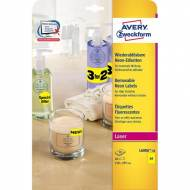 AVERY L6006-20. Pack de 20 hojas de etiquetas fluorescentes amarillas (20 etiquetas de 210 x 297 mm.)