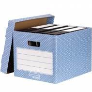 Fellowes 4481901. Pack 4 contenedores de archivo azul/blanco