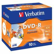 VERBATIM Pack 10 DVD-R 16x Advanced AZO 4,7Gb Imprimible - 43521