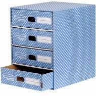 Fellowes 4482301. Módulo 4 cajones archivador A4 azul/blanco