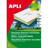 APLI 12061. Caja 100 hojas A4 de etiquetas ILC recicladas (70,0 X 37,0 mm.)