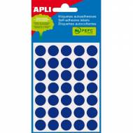 APLI 02056. Etiquetas adhesivas azules redondas (ø 13 mm.)
