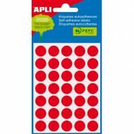 APLI 02057. Etiquetas adhesivas rojas redondas (ø 13 mm.)