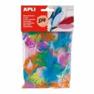 APLI 13281. Plumas collage manualidades de colores y tamaños surtidos (14 gr.)