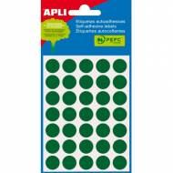 APLI 02058. Etiquetas adhesivas verdes redondas (ø 13 mm.)