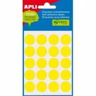 APLI 02063. Etiquetas adhesivas amarillas redondas (ø 19 mm.)