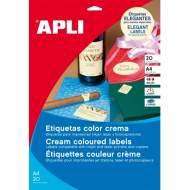 APLI 11800. Carpeta 20 hojas A4 etiquetas color crema (70,0 x 37,0 mm.)