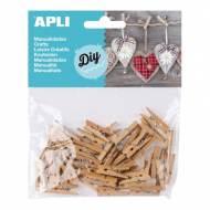 APLI 13478. Mini pinzas de madera para manualidades color natural (45 und.)
