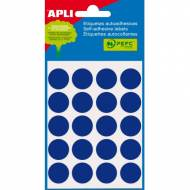 APLI 02064. Etiquetas adhesivas azules redondas (ø 19 mm.)