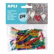 APLI 13479. Mini pinzas de madera para manualidades colores surtidos (45 und.)