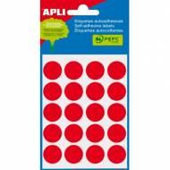 APLI 02065. Etiquetas adhesivas rojas redondas (ø 19 mm.)