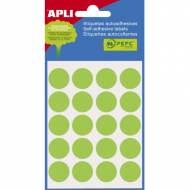 APLI 02066. Etiquetas adhesivas verdes redondas (ø 19 mm.)