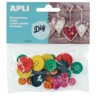 APLI 13481. Botones de madera redondos para manualidades de colores (30 und.)