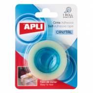 APLI 11167. 10 rollos cinta adhesiva crystal en blister (19 mm x 33 m)