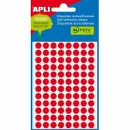 APLI 02081. Etiquetas adhesivas redondas rojo fluor (ø 8 mm.)