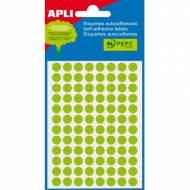 APLI 02082. Etiquetas adhesivas redondas verde fluor (ø 8 mm.)