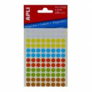 APLI 02092. Etiquetas adhesivas redondas colores surtidos (ø 8 mm.)