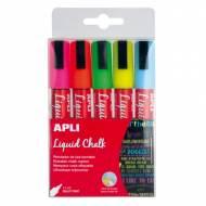 APLI 13959. 5 rotuladores de tiza líquida punta redonda colores surtidos (5,5 mm.)