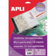 APLI 10607. Blister 10 carátulas para CD-DVD microperforadas (121 x 121 mm.)