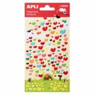 APLI 13509. 5 hojas pegatinas decorativas (Corazón Color)