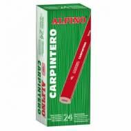 ALPINO LE000013. Caja 24 lápices de carpintero ovalados. Barnizado en rojo