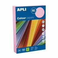 APLI 15289. Papel de 80 gr. A4 color rosa pastel (500 hojas)