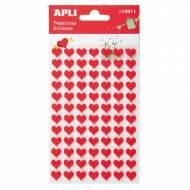 APLI 13511. 5 hojas pegatinas decorativas (Corazón fieltro rojo)