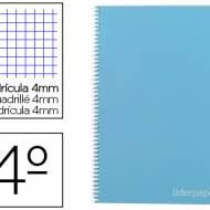 Liderpapel BC22. Cuaderno espiral azul cuarto witty tapa dura 80 h 75 gr cuadro 4 mm con margen