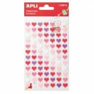 APLI 13512. 5 hojas pegatinas decorativas (Corazón fieltro rosa)