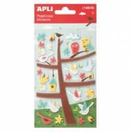 APLI 13516. 5 hojas pegatinas decorativas (Árbol pájaros fieltro)