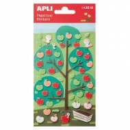 APLI 13518. 5 hojas pegatinas decorativas (Manzanas fieltro)
