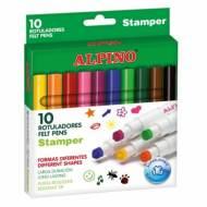 ALPINO AR000059. Estuche de 10 rotuladores Stamper súper lavables