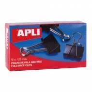 APLI 11949. Caja de 12 pinzas abatibles  (25 mm.)