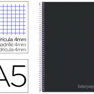 Liderpapel BC23. Cuaderno espiral negro cuarto witty tapa dura 80 h 75 gr cuadro 4 mm con margen
