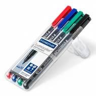 STAEDTLER 317 WP4. Estuche 4 marcadores permanentes Lumocolor con punta media. Trazo 1 mm. Colores surtidos