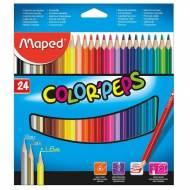 MAPED 183224 Estuche de 24 lápices de colores surtidos