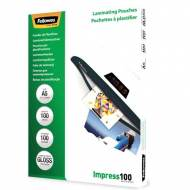 Fellowes 5351002. Pack 100 Fundas Plastificar 100 micras Brillo A5