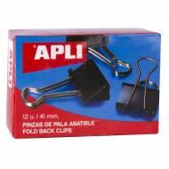 APLI 11951. Caja de 12 pinzas abatibles  (41 mm.)