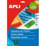 APLI 1600. Carpeta 20 hojas A4 etiquetas ILC azules (210,0 X 297,0 mm.)