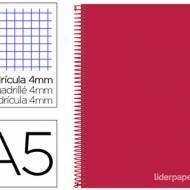 Liderpapel BC24. Cuaderno espiral rojo cuarto witty tapa dura 80 h 75 gr cuadro 4 mm con margen