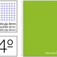 Liderpapel BC25. Cuaderno espiral verde cuarto witty tapa dura 80 h 75 gr cuadro 4 mm con margen