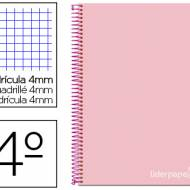 Liderpapel BC58. Cuaderno espiral rosa cuarto witty tapa dura 80 h 75 gr cuadro 4 mm con margen