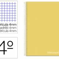 Liderpapel BC81. Cuaderno espiral amarillo cuarto witty tapa dura 80 h 75 gr cuadro 4 mm con margen