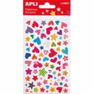 APLI 13901. 5 hojas pegatinas decorativas (Corazones estrellas)