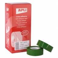 APLI 12275. 8 rollos cinta adhesiva color verde (19 mm x 33 m)