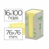 POST-IT Torre notas adhesivas papel 100% reciclado. 16 blocs 100h 76x76mm. Amarillo -  FT510110347